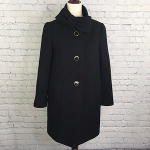 KATE SPADE New York Bow Neck Wool Coat Black sz 2